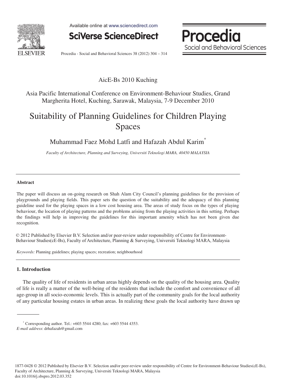 Suitability of Planning Guidelines for Children Playing
