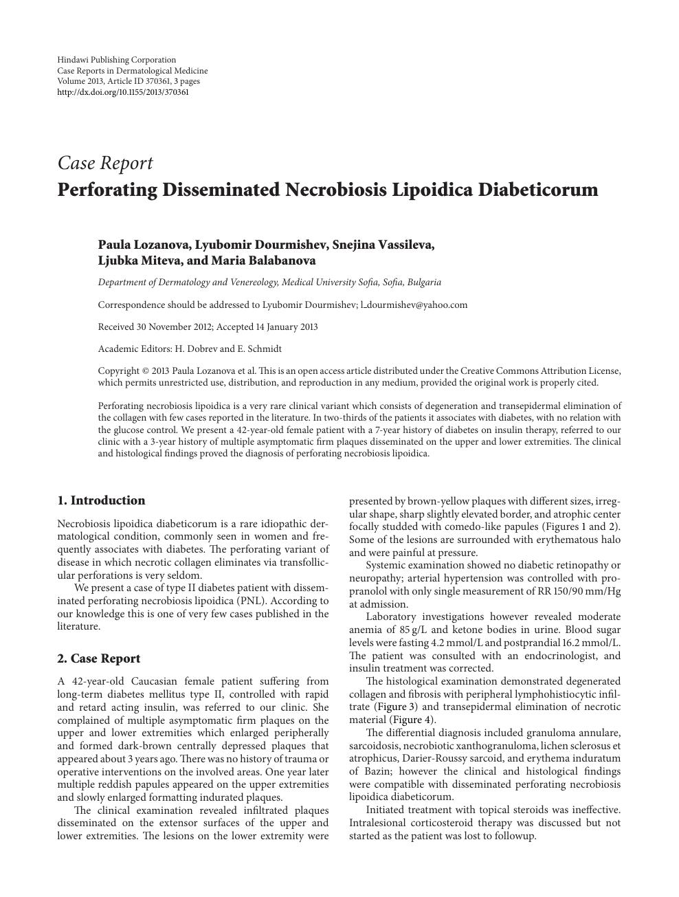 Perforating Disseminated Necrobiosis Lipoidica Diabeticorum