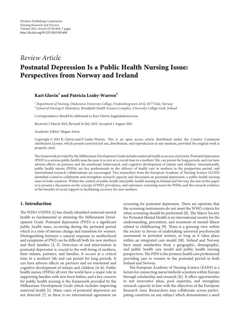 Postnatal Depression Is a Public Health Nursing Issue