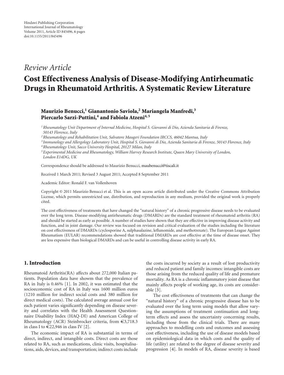 Cost Effectiveness Analysis of Disease-Modifying Antirheumatic Drugs