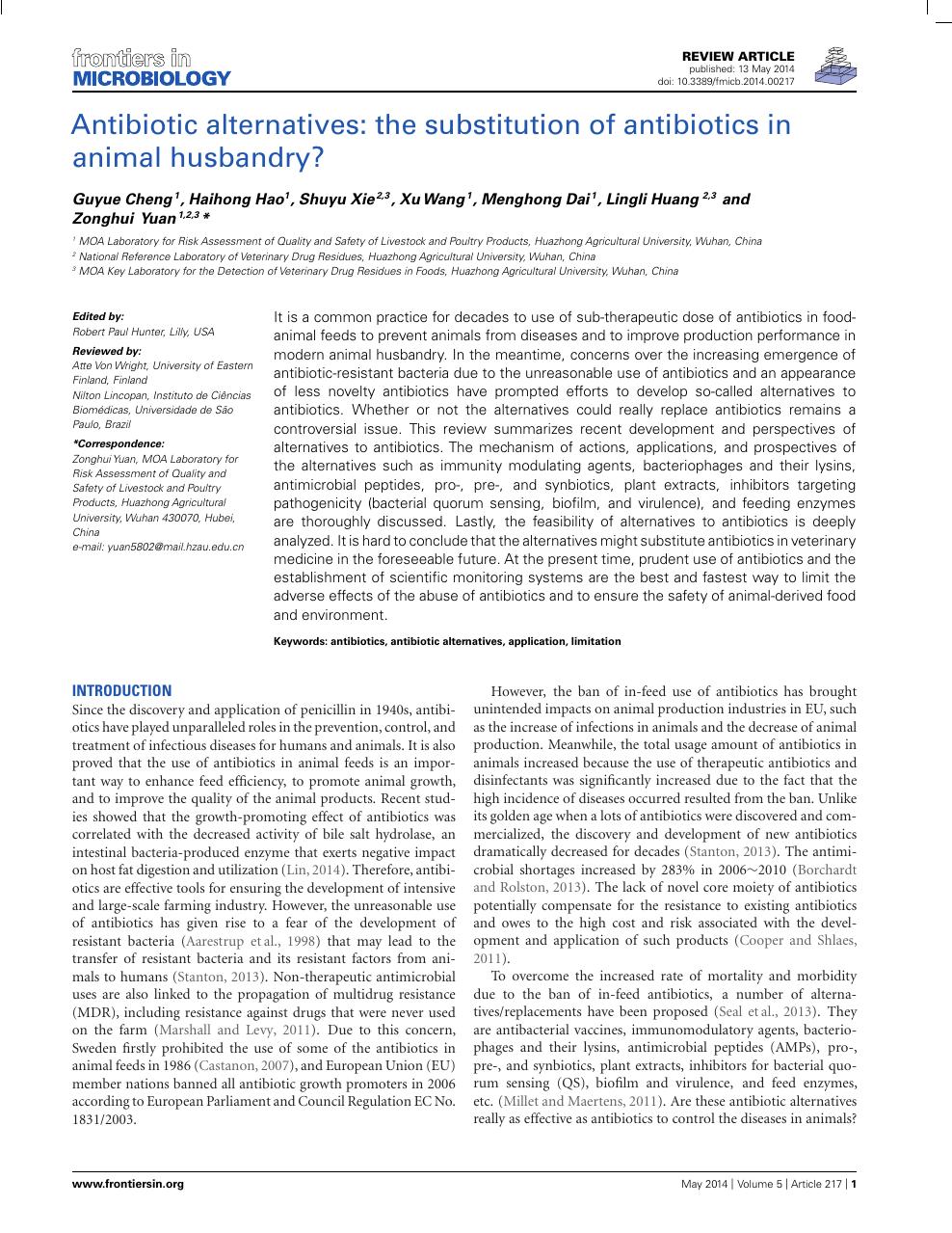 Antibiotic alternatives: the substitution of antibiotics in