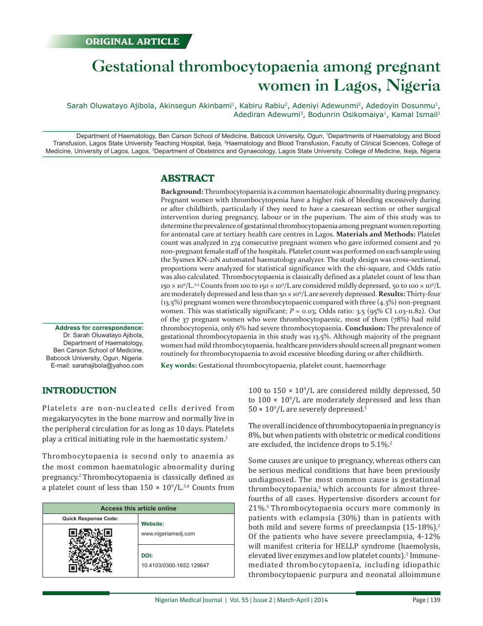 Gestational thrombocytopaenia among pregnant women in Lagos