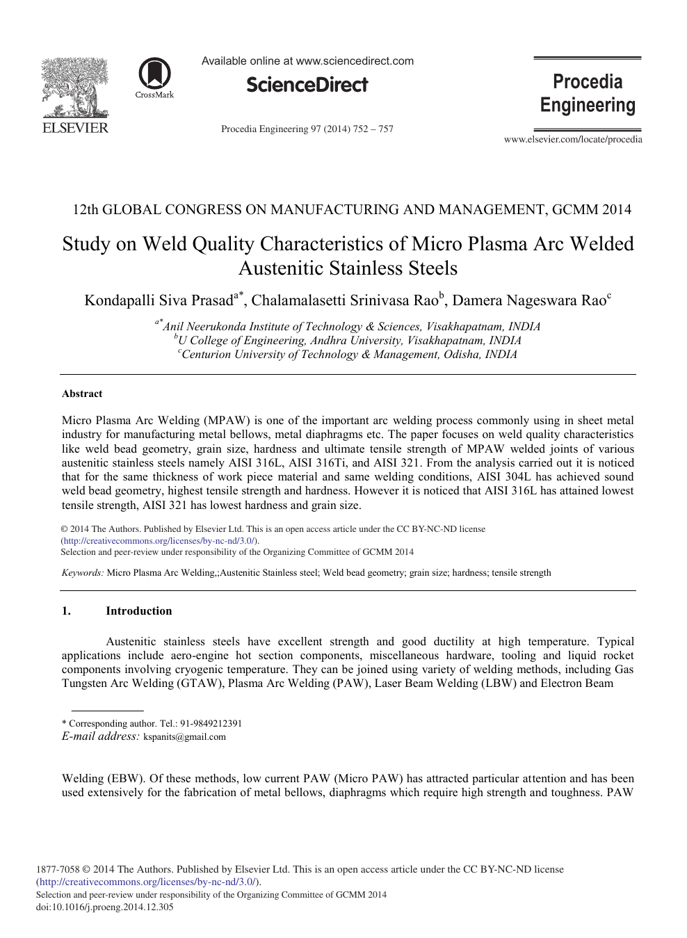 Study On Weld Quality Characteristics Of Micro Plasma Arc Welded Austenitic Stainless Steels Topic Of Research Paper In Materials Engineering Download Scholarly Article Pdf And Read For Free On Cyberleninka Open