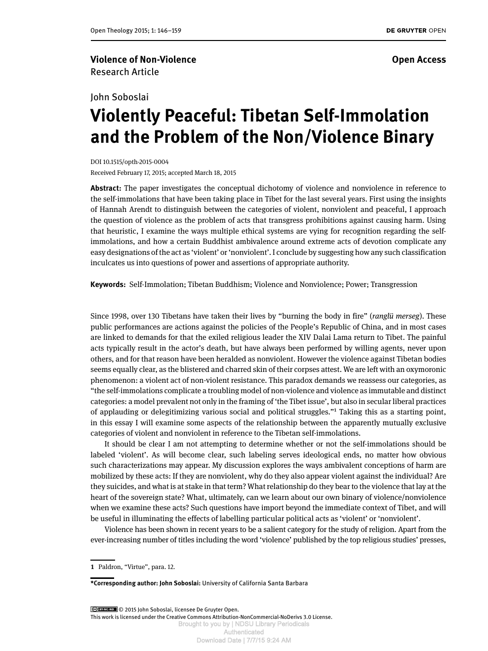 Violently Peaceful: Tibetan Self-Immolation and the Problem