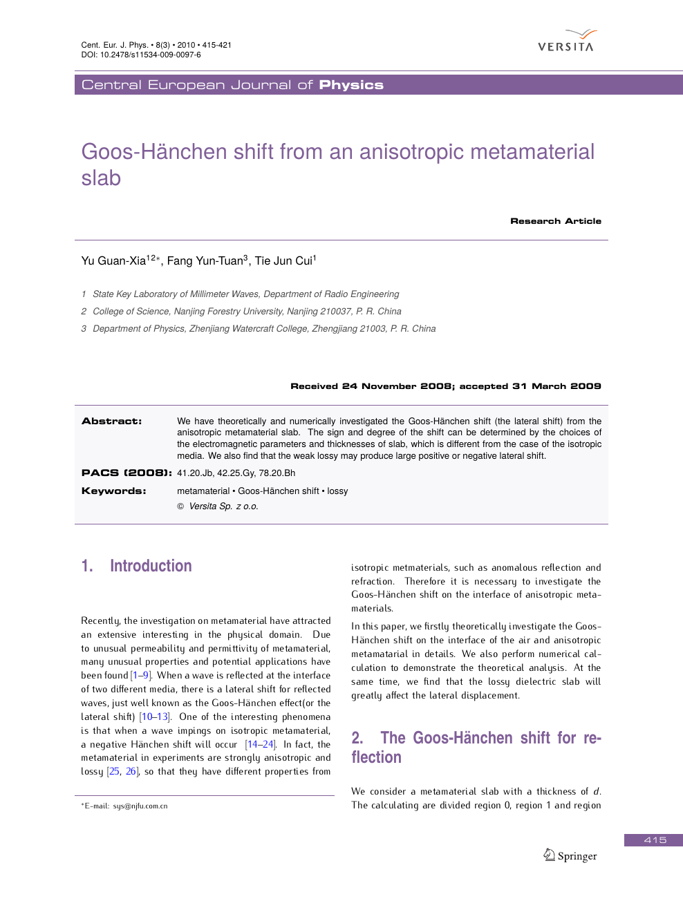 Goos-Hänchen shift from an anisotropic metamaterial slab – topic of
