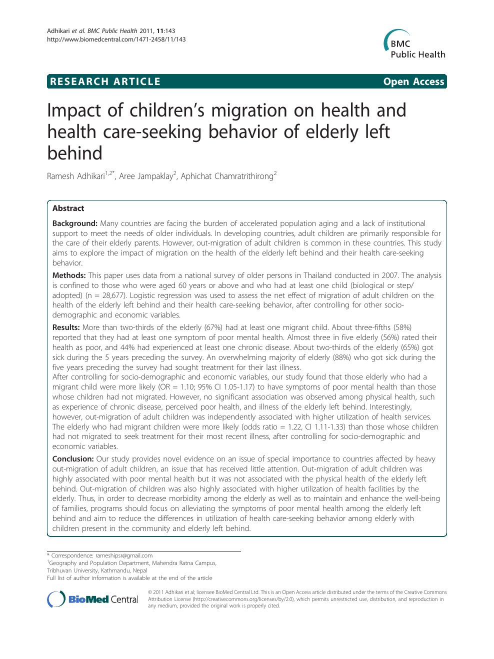 Impact of children's migration on health and health care