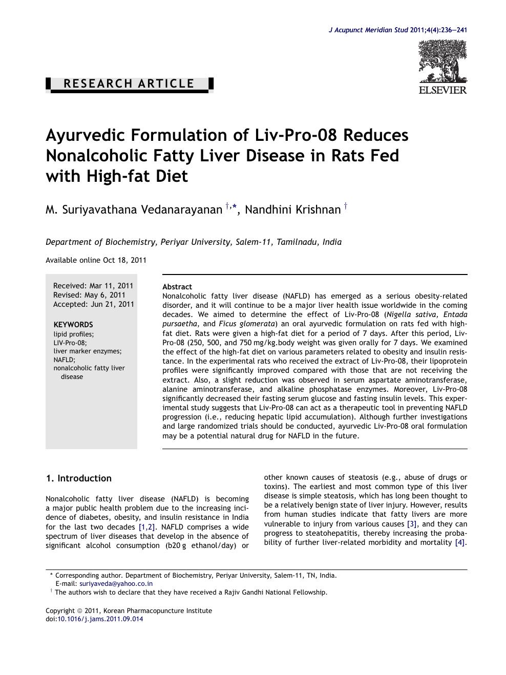 Ayurvedic Formulation of Liv-Pro-08 Reduces Nonalcoholic