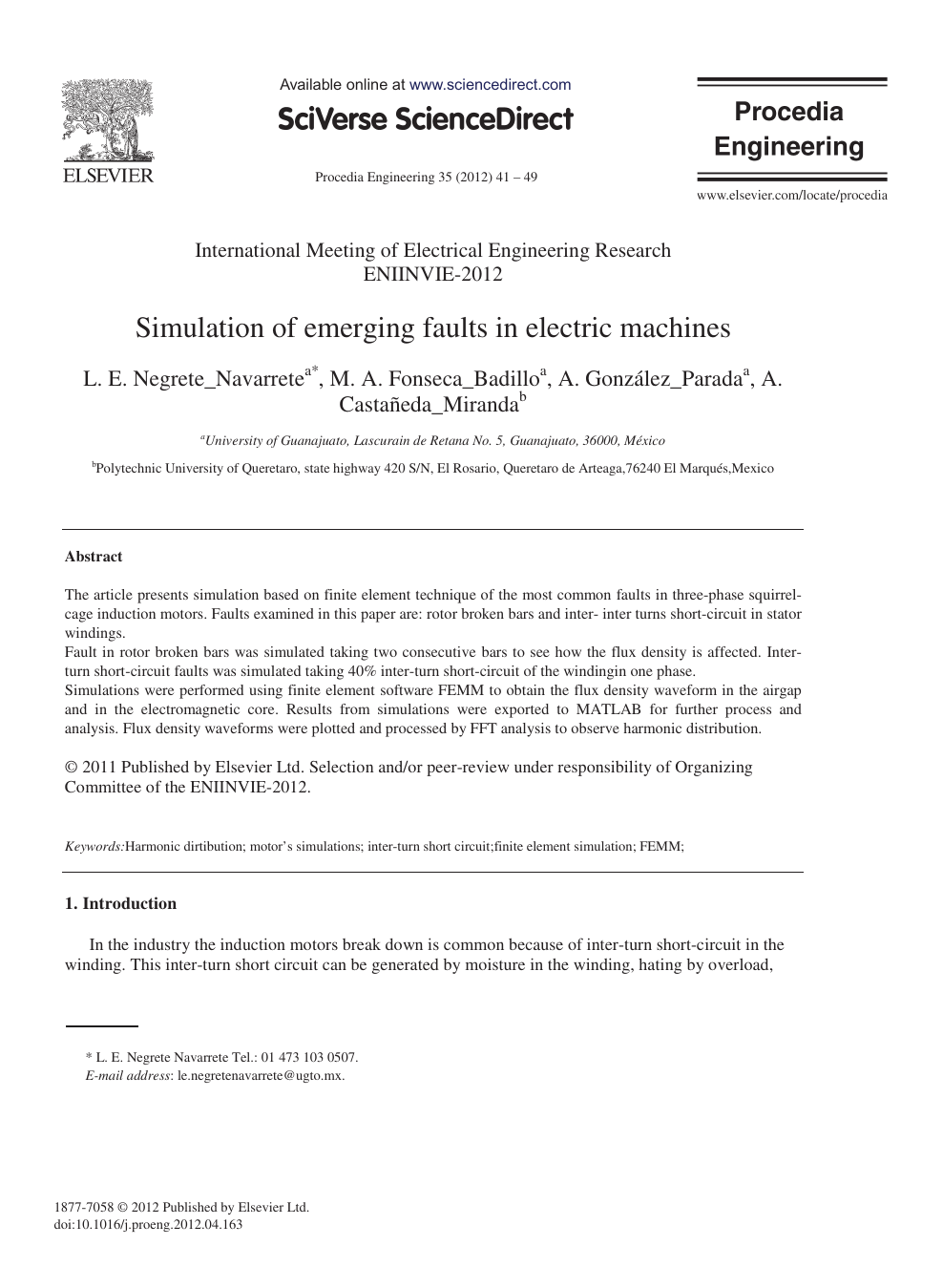 Simulation of emerging faults in electric machines – topic of