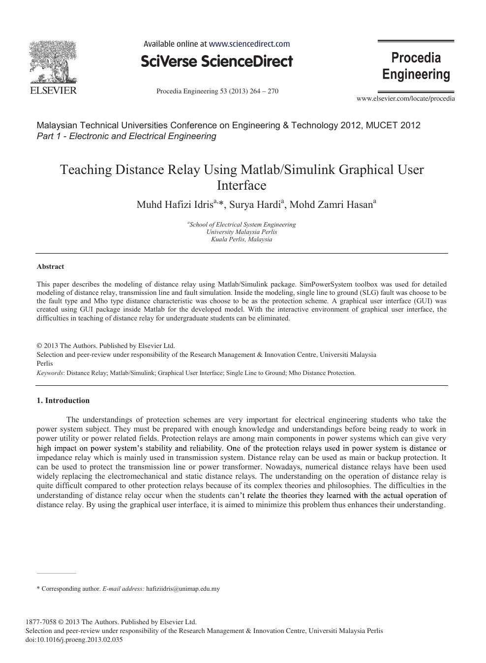 Teaching Distance Relay using Matlab/Simulink Graphical user