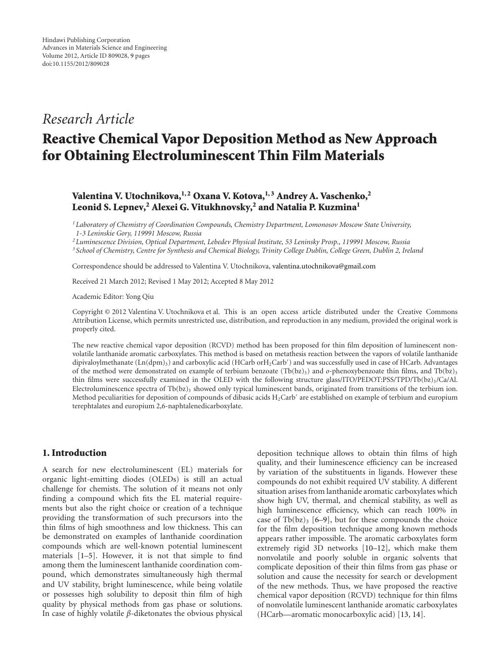 Reactive Chemical Vapor Deposition Method as New Approach