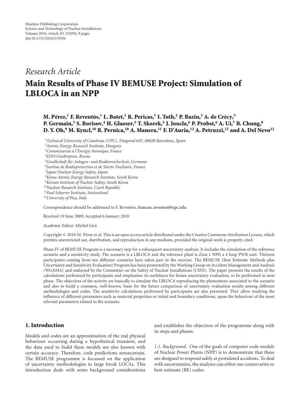 Main Results of Phase IV BEMUSE Project: Simulation of LBLOCA in an