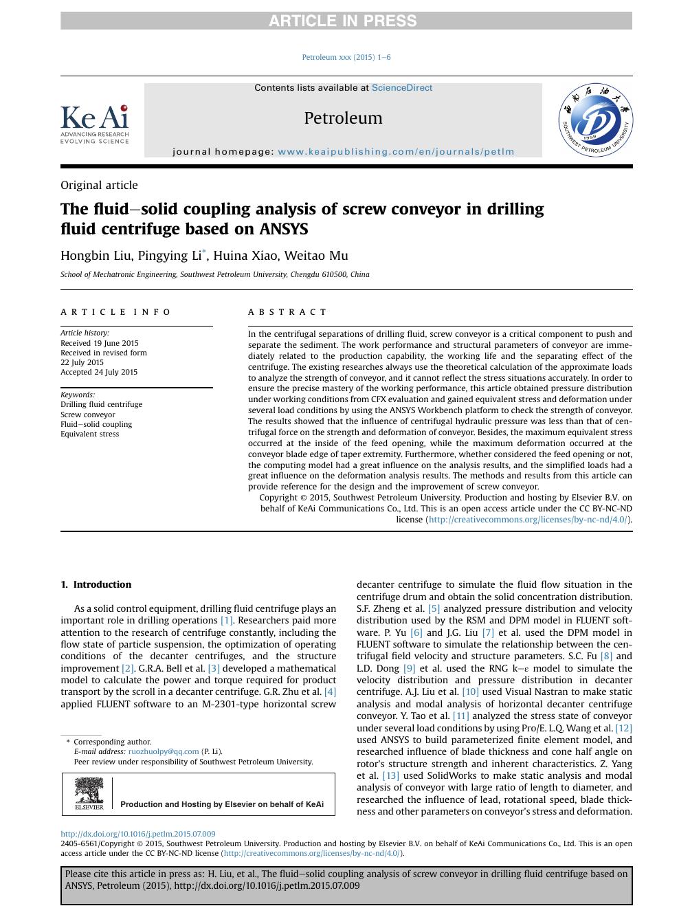 The fluid–solid coupling analysis of screw conveyor in