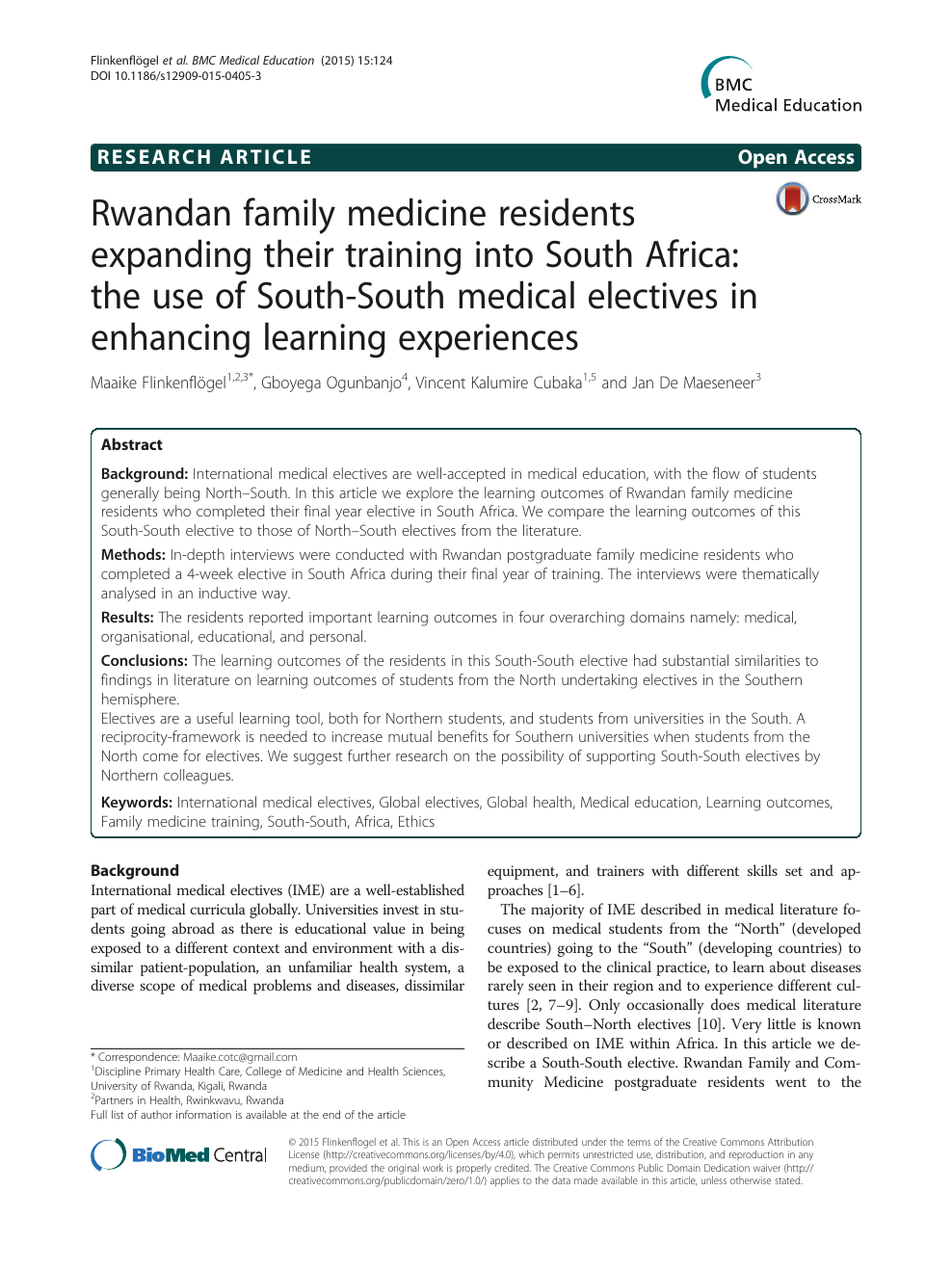 Rwandan family medicine residents expanding their training into