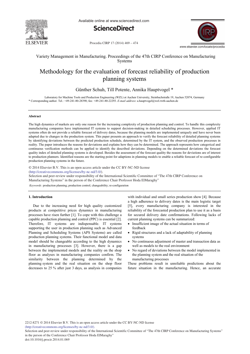 Methodology for the Evaluation of Forecast Reliability of