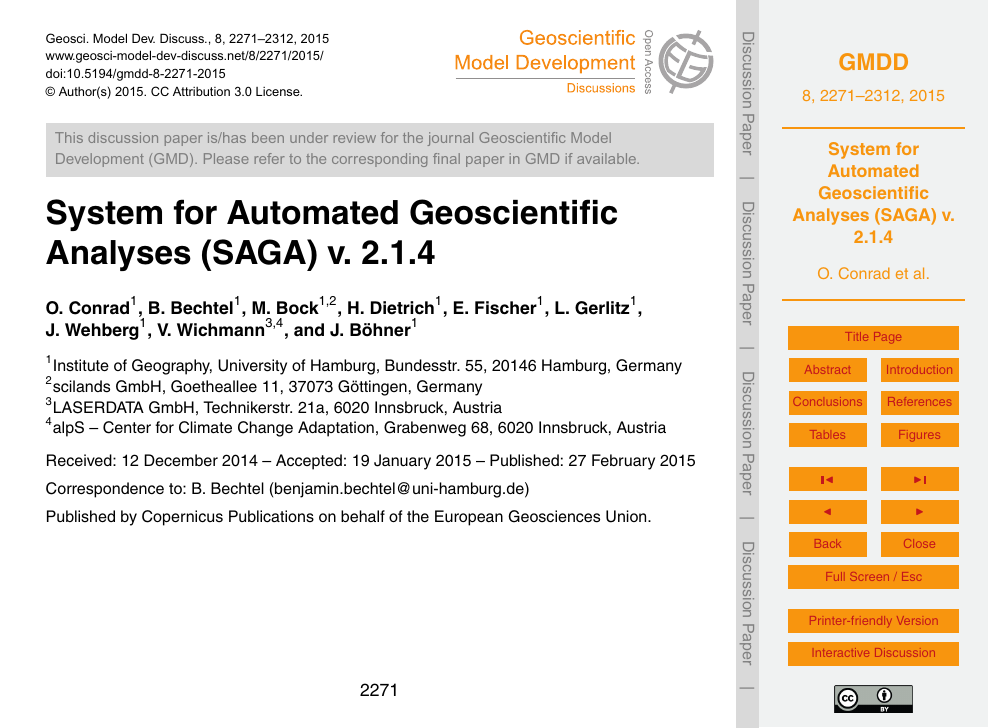 System for Automated Geoscientific Analyses (SAGA) v  2 1 4