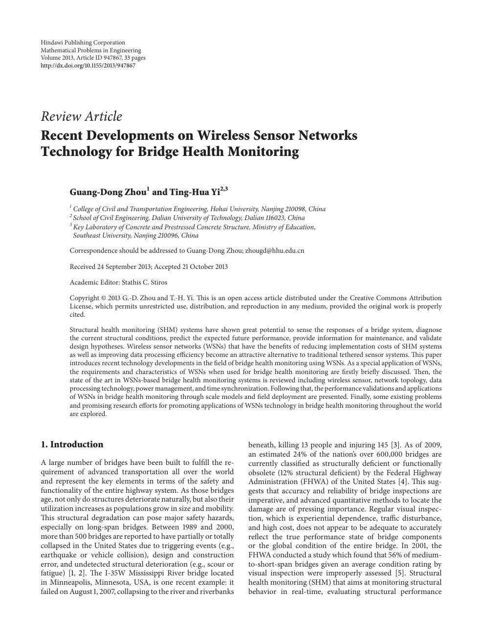 Recent Developments on Wireless Sensor Networks Technology