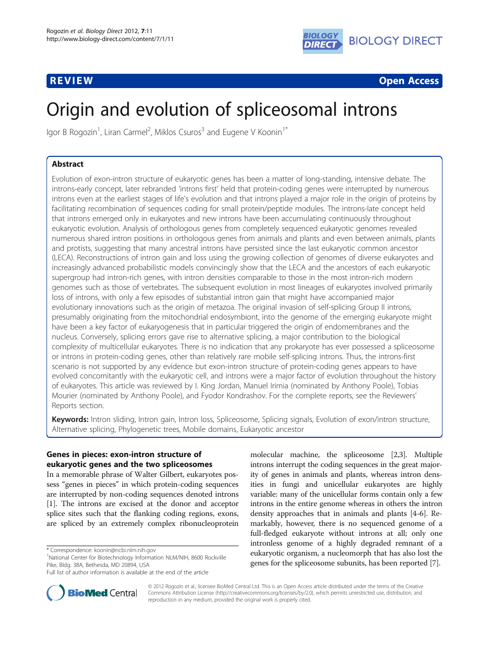 Origin and evolution of spliceosomal introns – topic of research