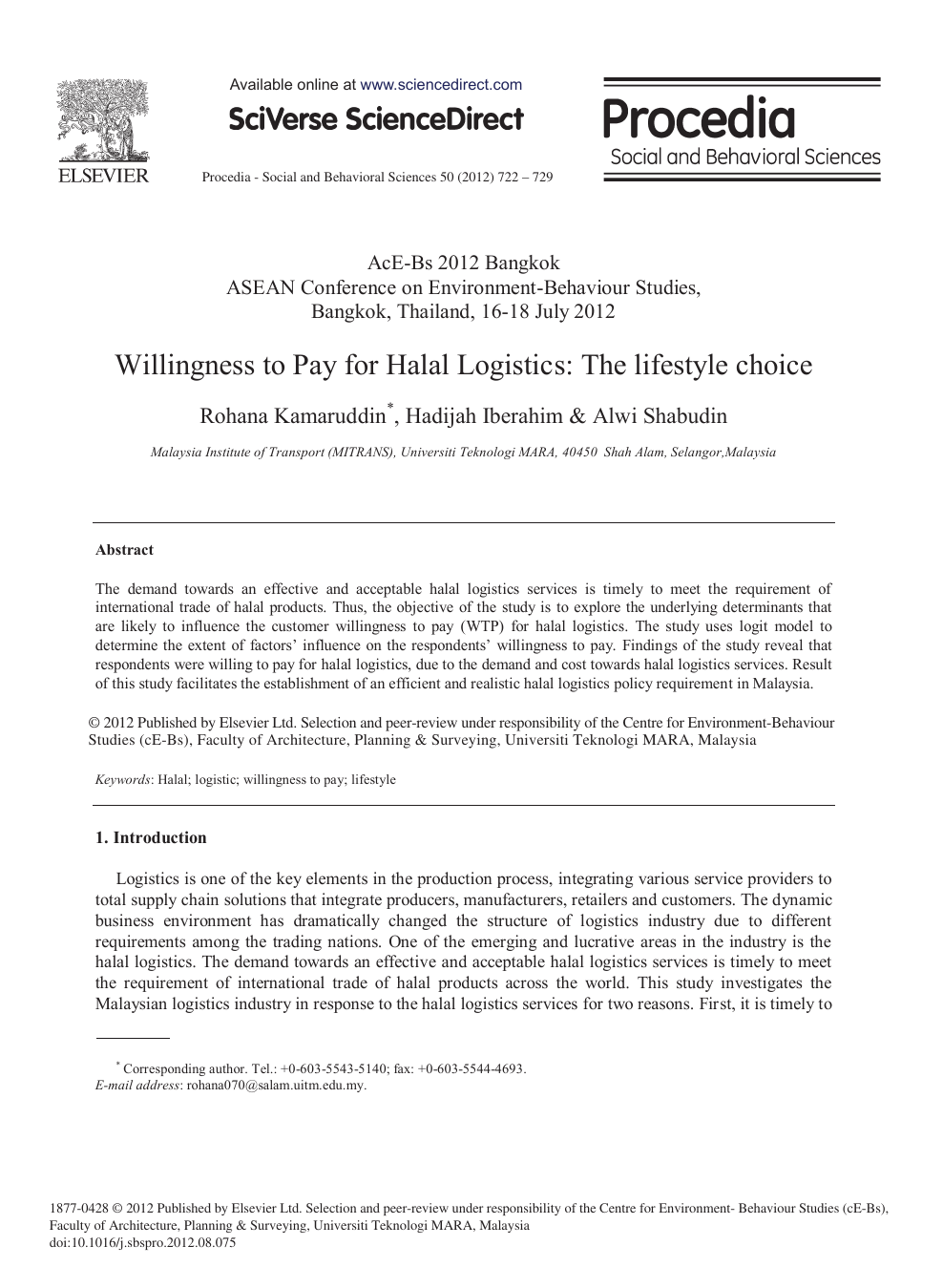 Willingness to Pay for Halal Logistics: The Lifestyle Choice – topic