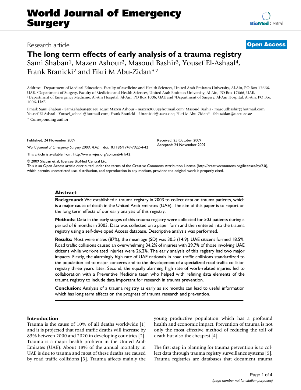 The long term effects of early analysis of a trauma registry