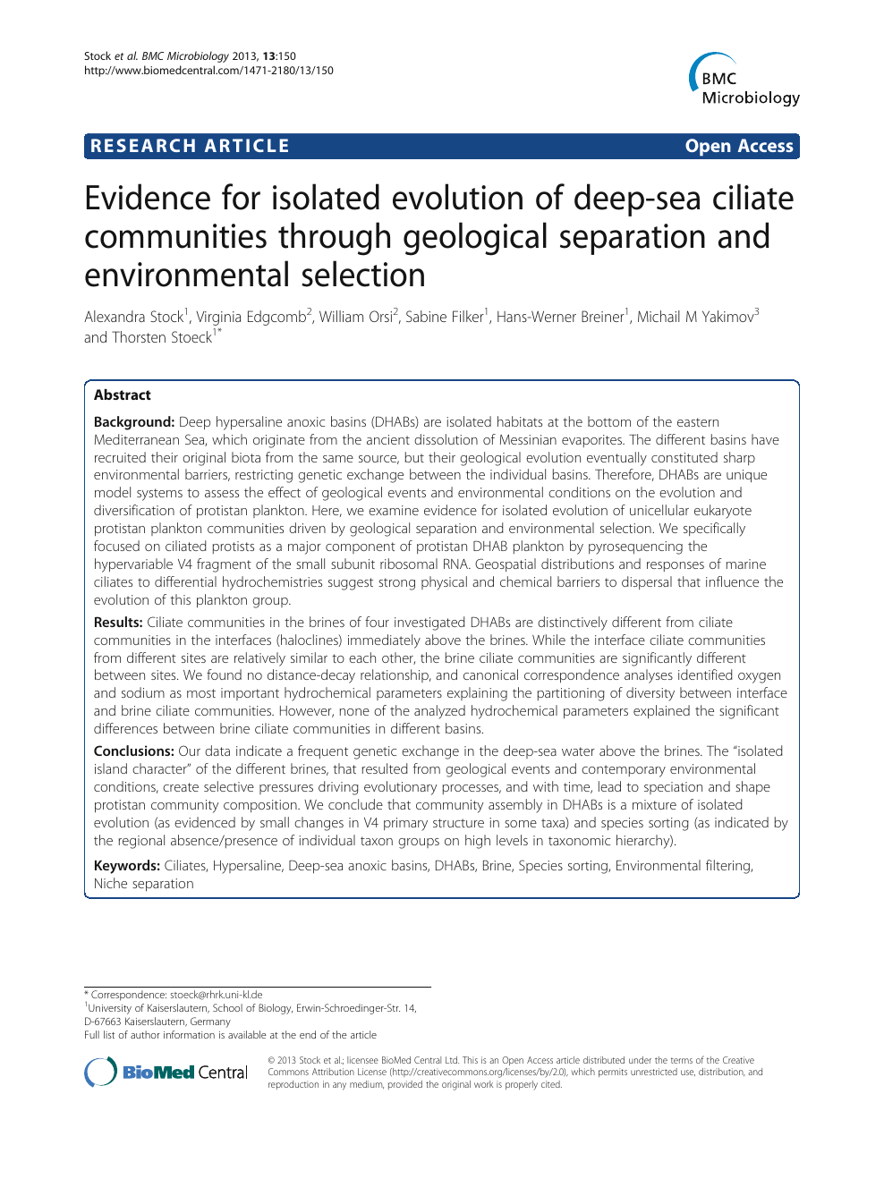 Evidence for isolated evolution of deep-sea ciliate