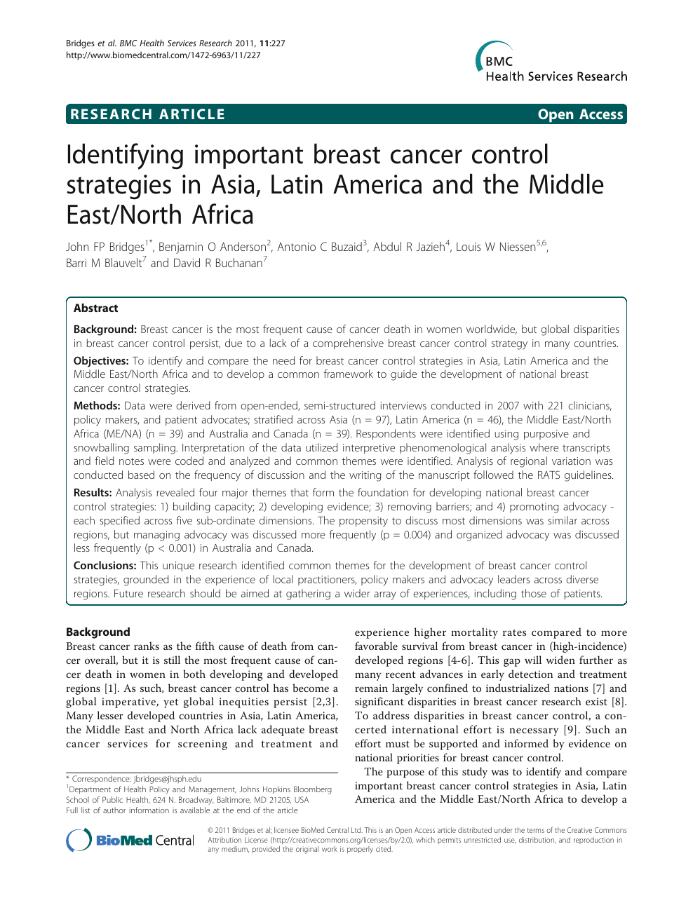Identifying important breast cancer control strategies in