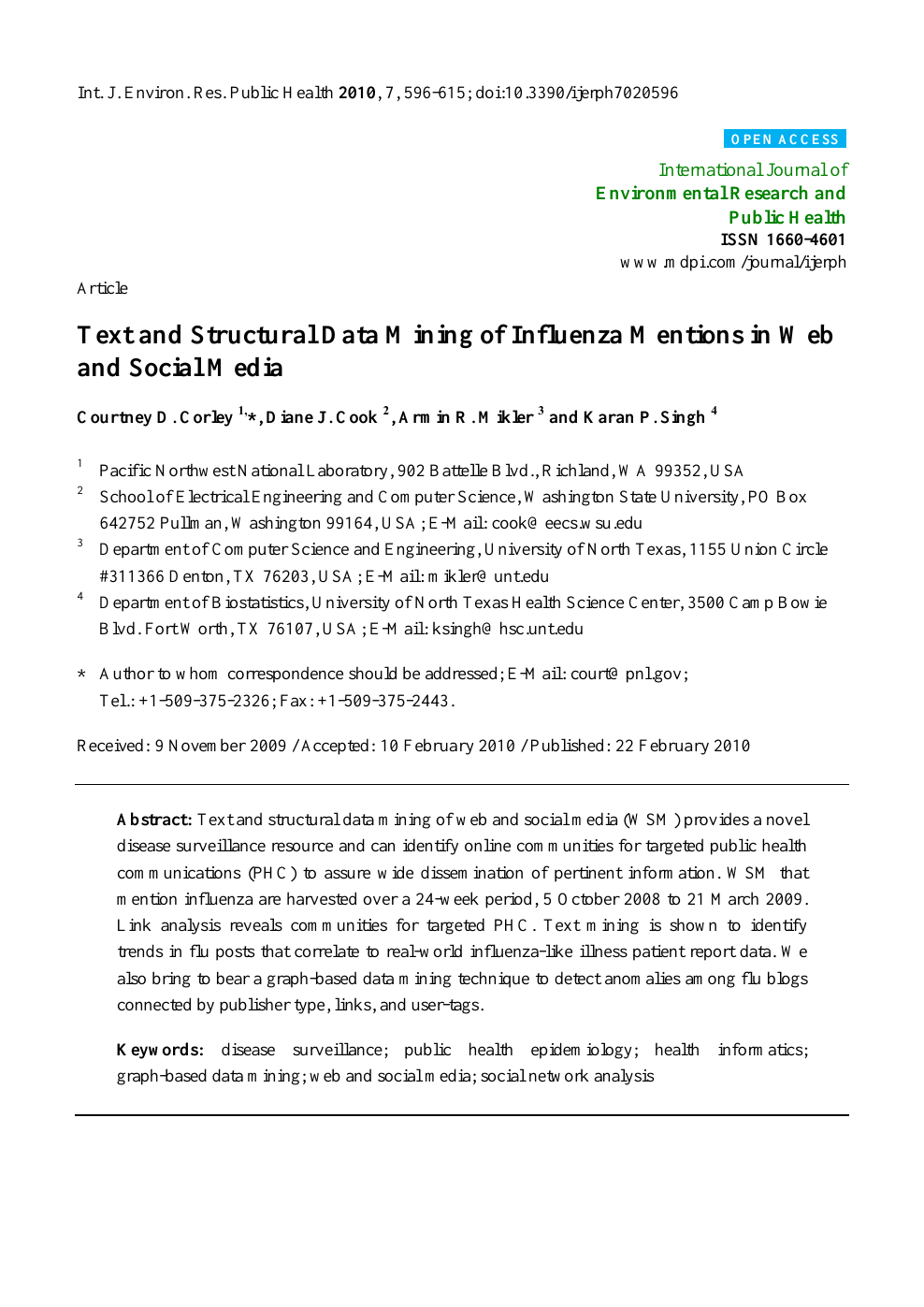 Text and Structural Data Mining of Influenza Mentions in Web