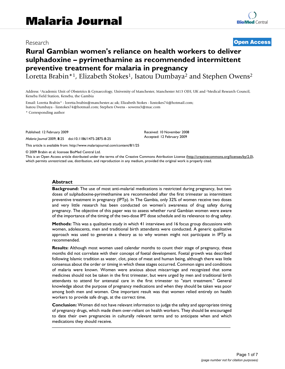 Rural Gambian women's reliance on health workers to deliver