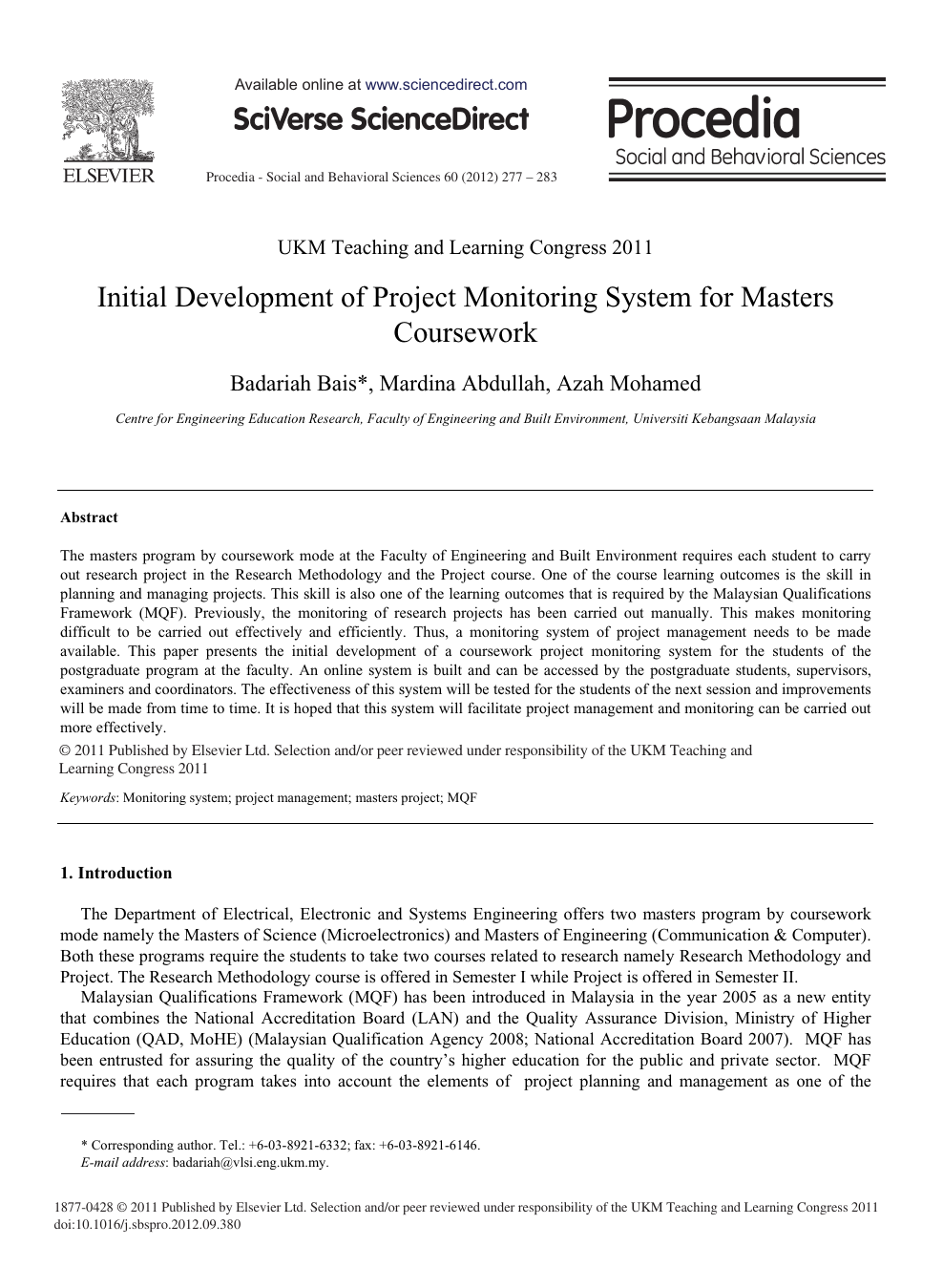 Initial Development of Project Monitoring System for Masters