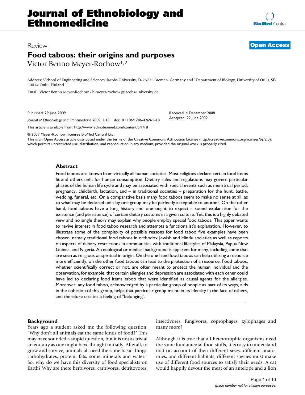 Food taboos: their origins and purposes – topic of research
