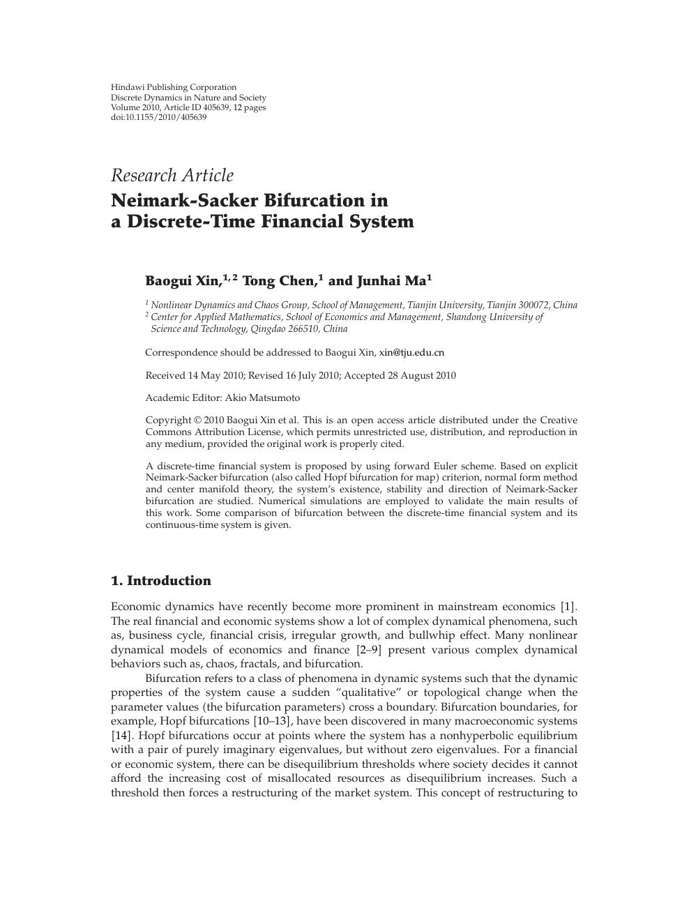 Neimark-Sacker Bifurcation in a Discrete-Time Financial