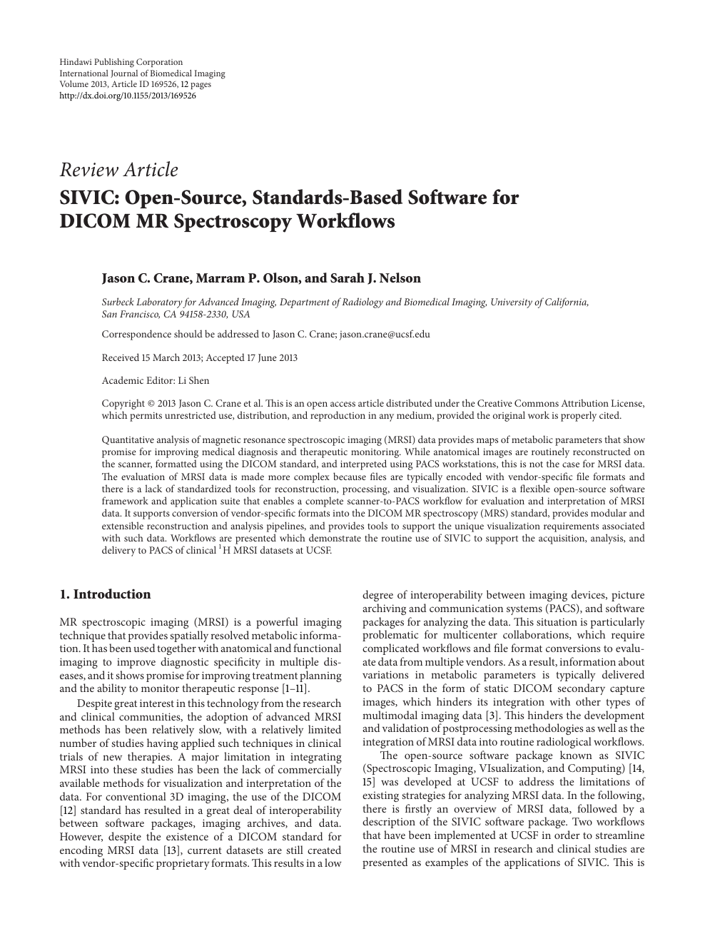 SIVIC: Open-Source, Standards-Based Software for DICOM MR