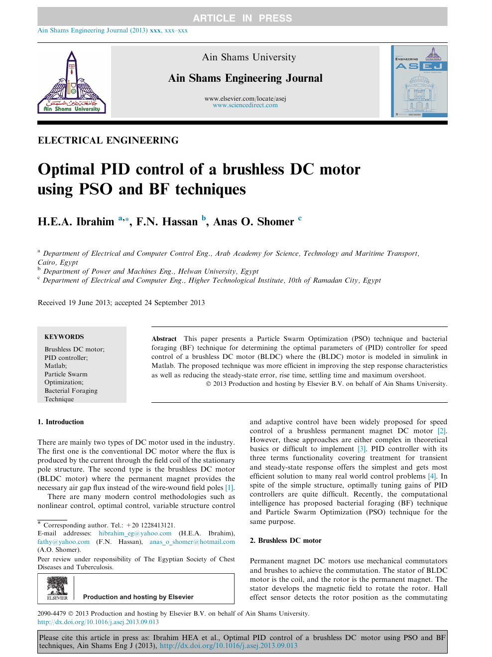 Optimal PID control of a brushless DC motor using PSO and BF