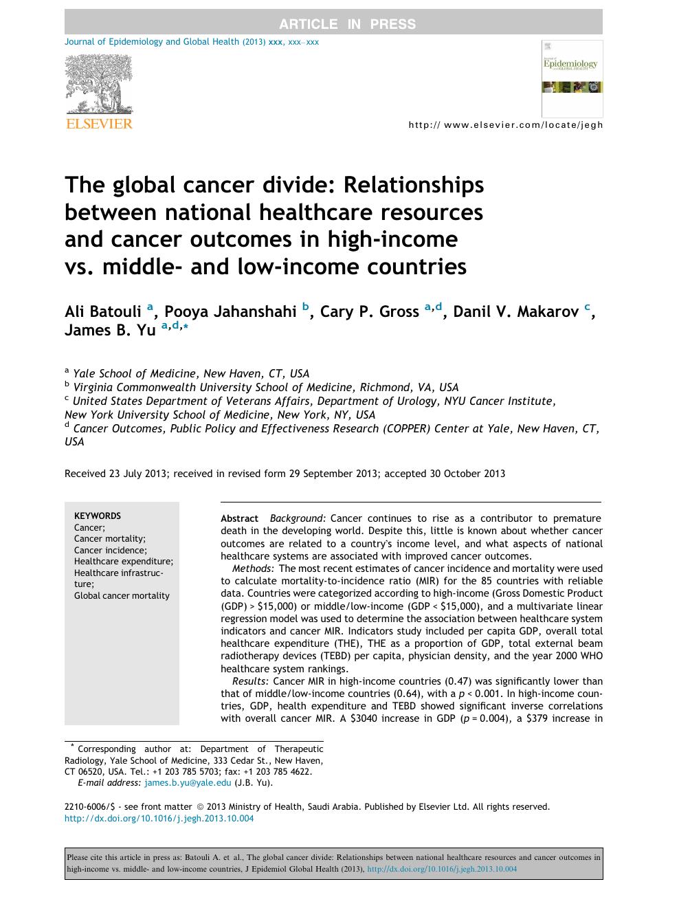 The global cancer divide: Relationships between national