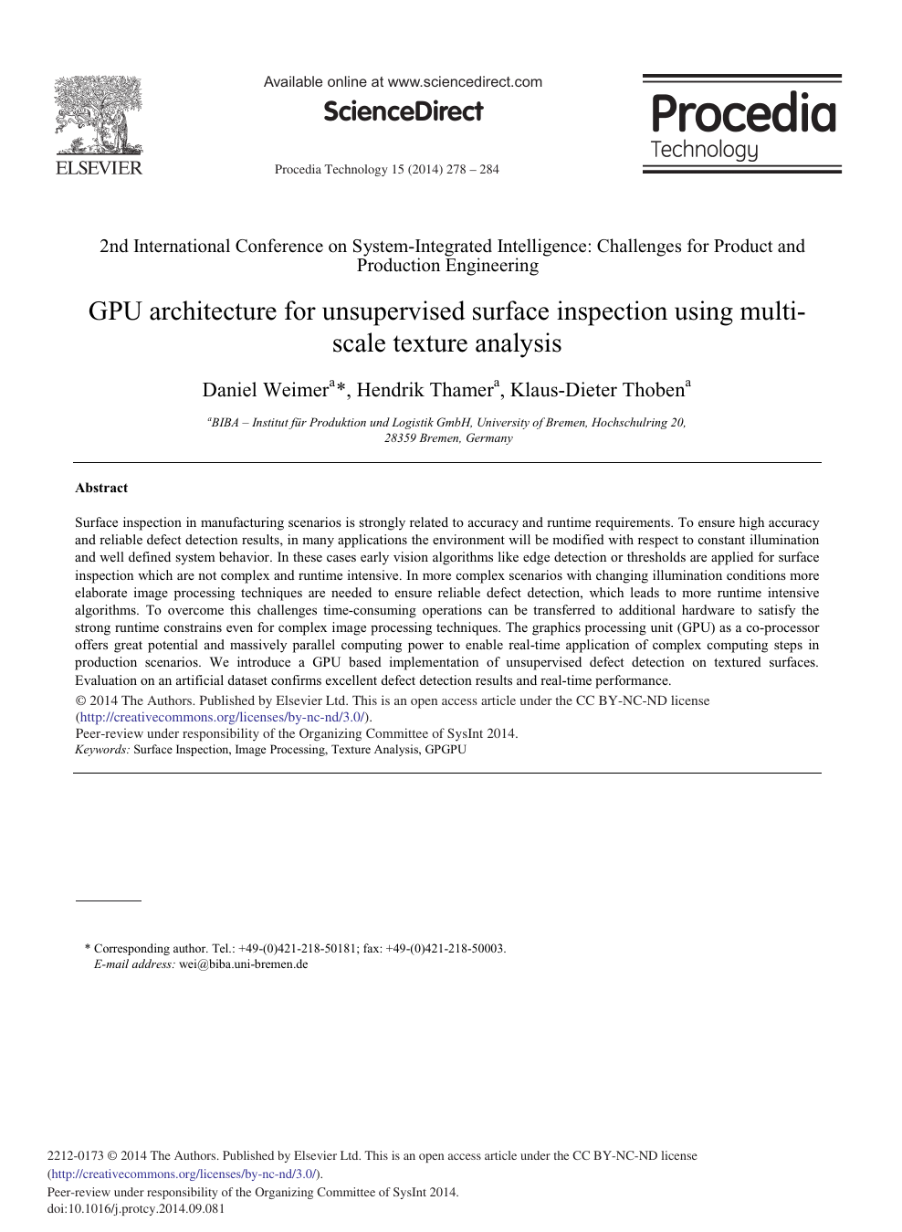 GPU Architecture for Unsupervised Surface Inspection Using