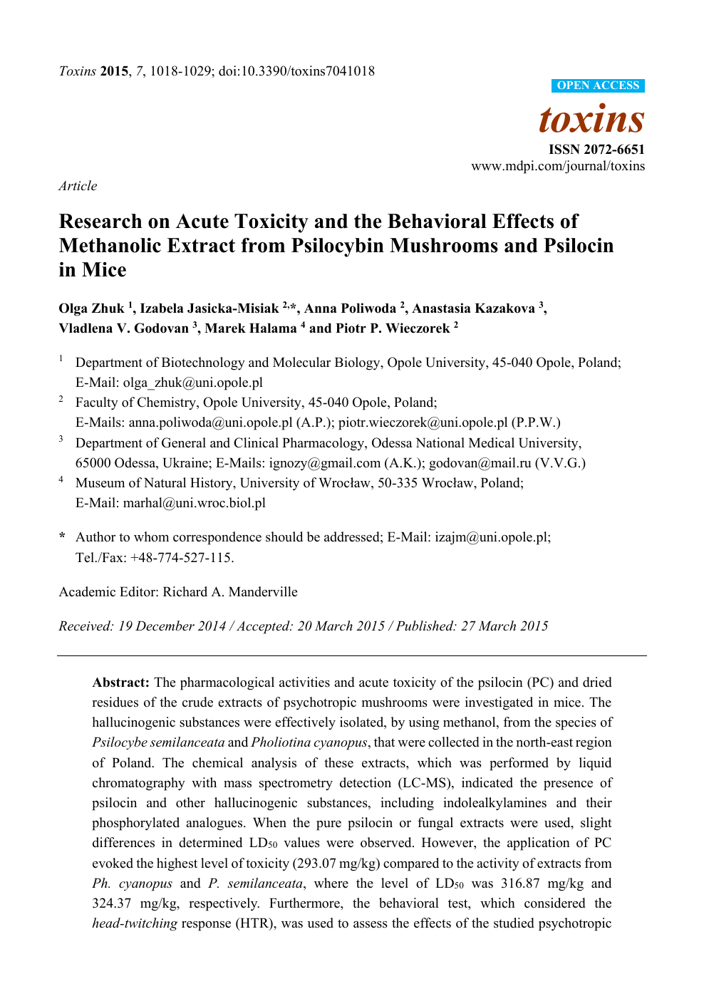 Research on Acute Toxicity and the Behavioral Effects of
