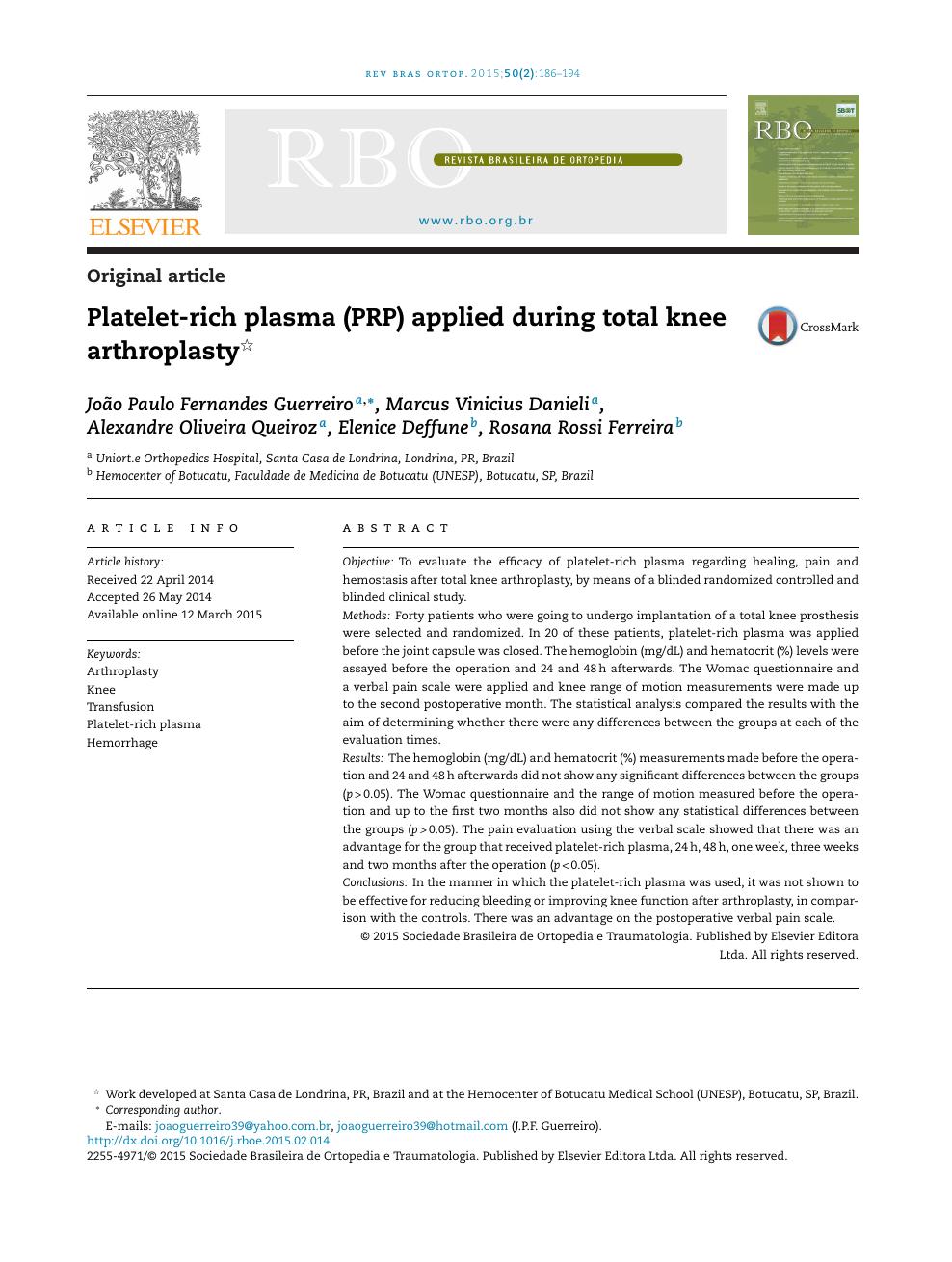 Platelet-rich plasma (PRP) applied during total knee