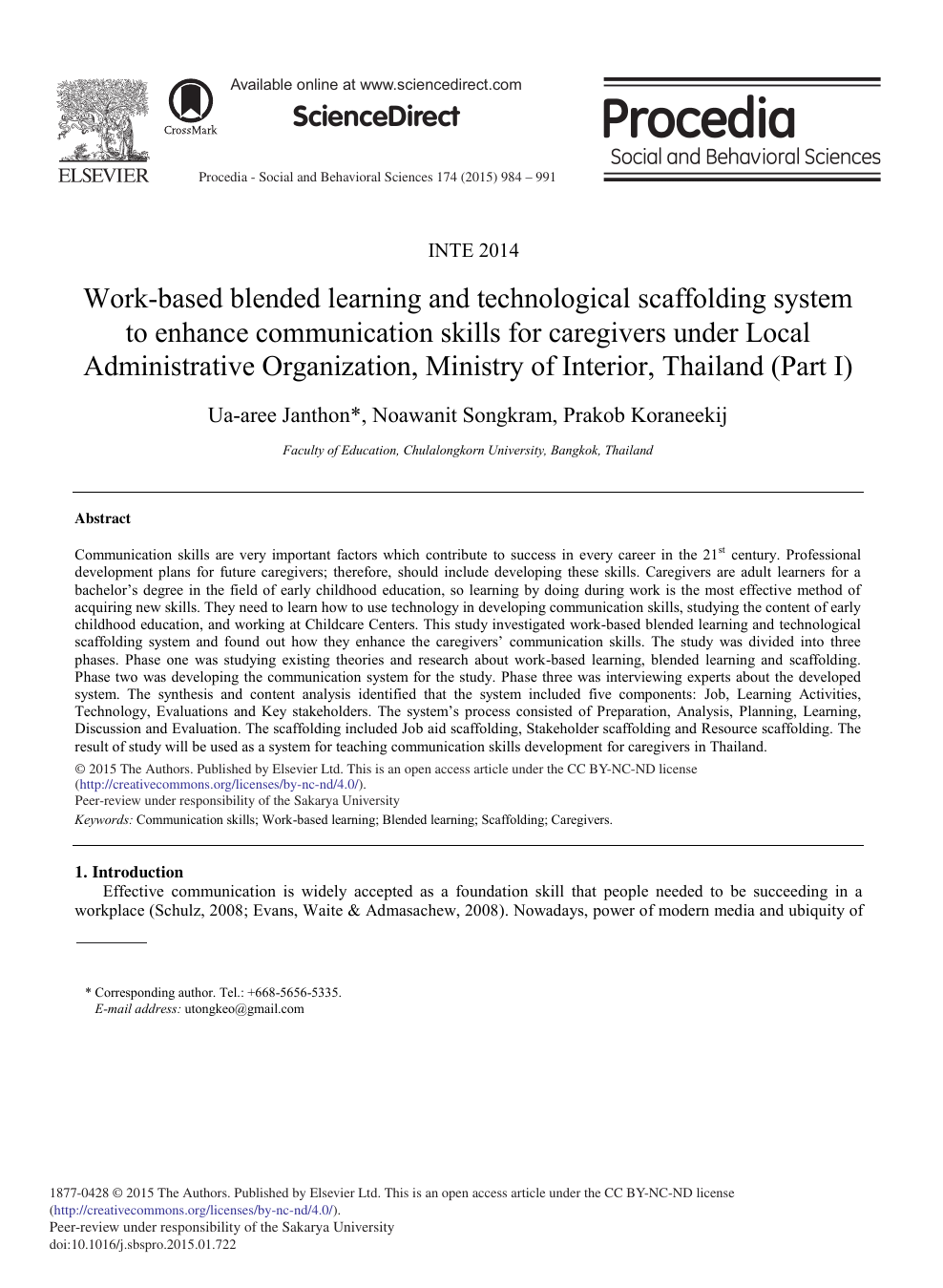 Work-based Blended Learning and Technological Scaffolding