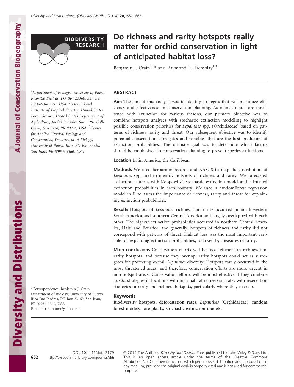 biodiversity research paper topics
