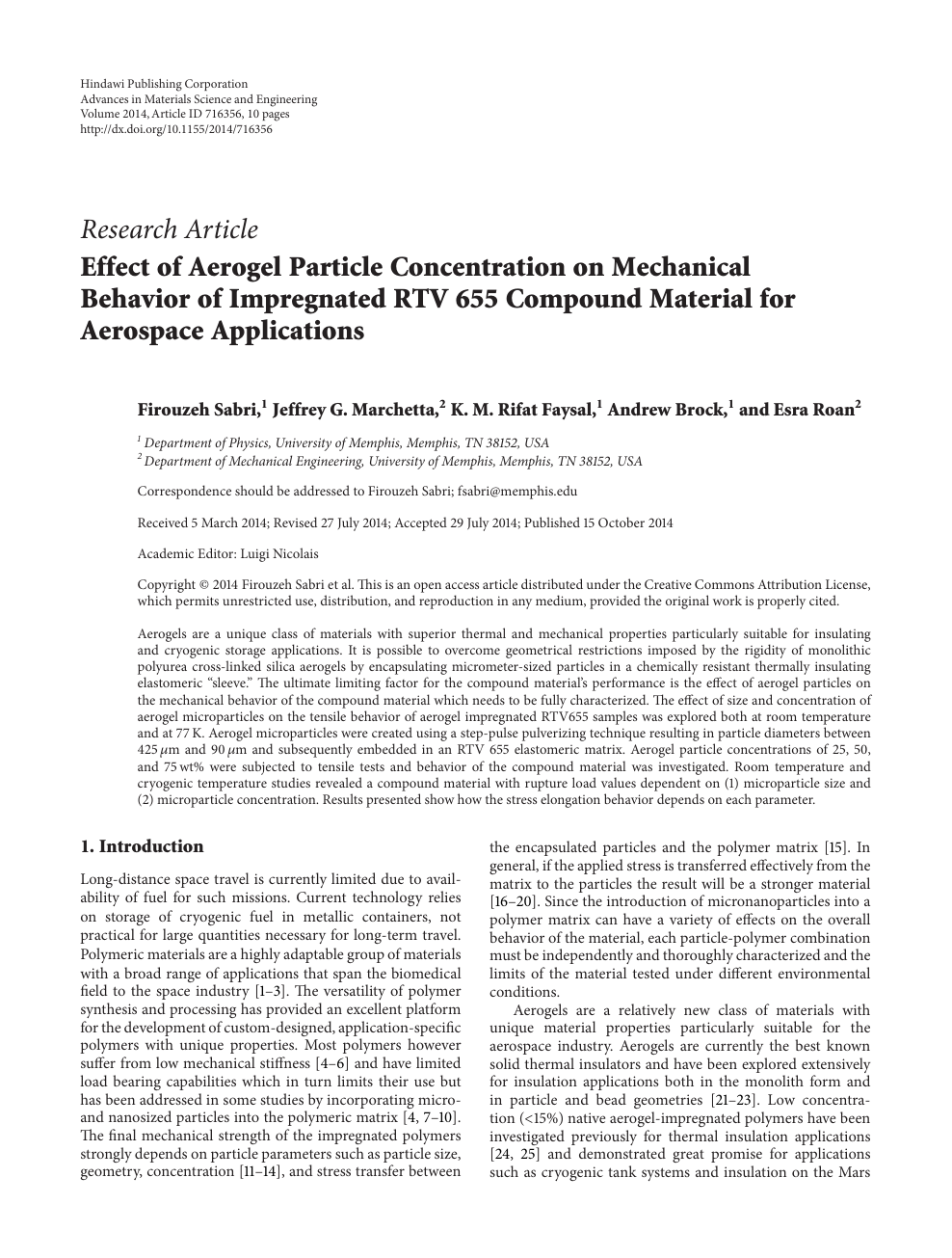 Effect of Aerogel Particle Concentration on Mechanical