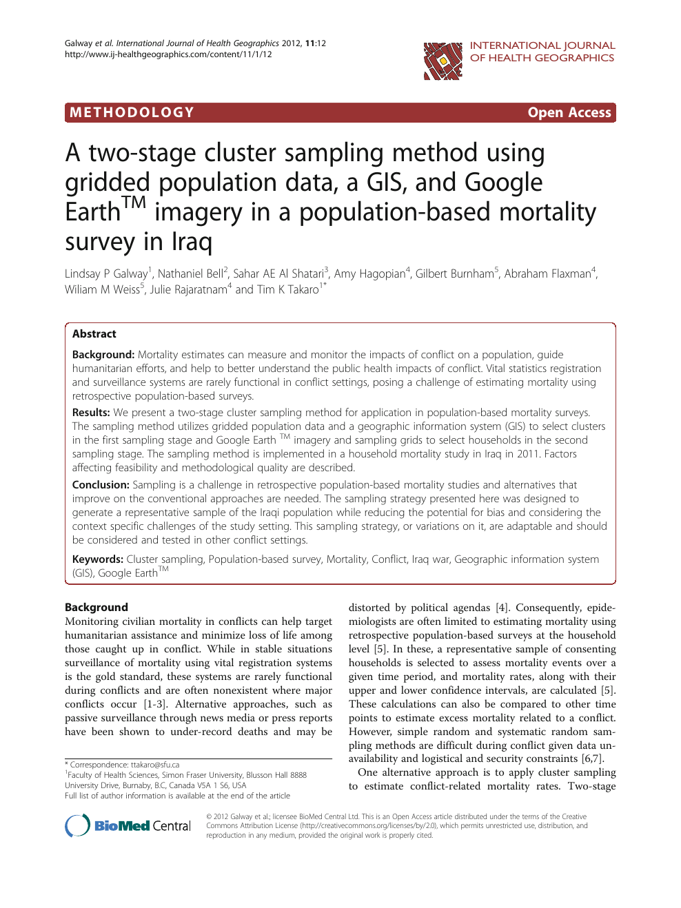 A two-stage cluster sampling method using gridded population