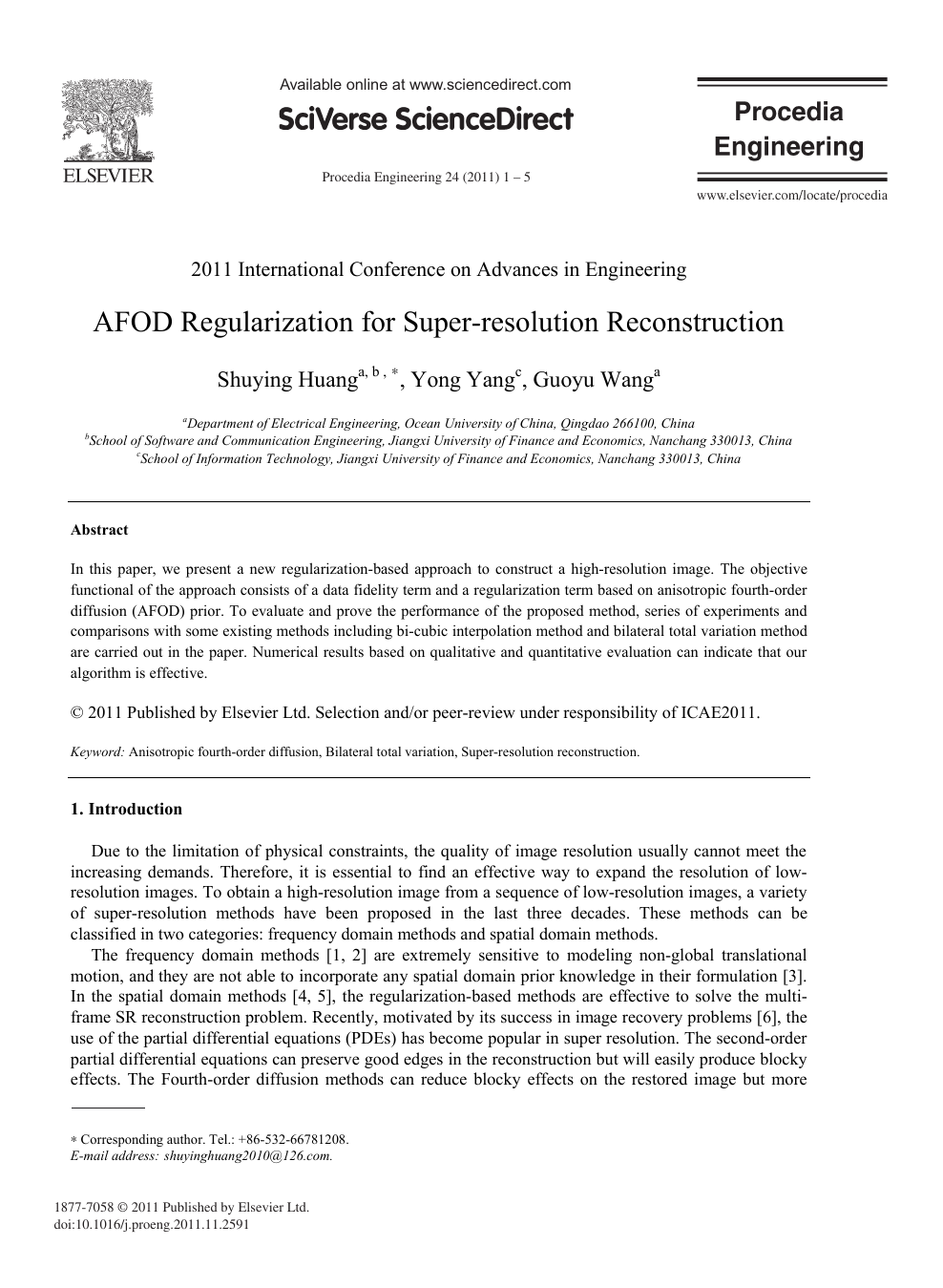 AFOD Regularization for Super-Resolution Reconstruction – topic of