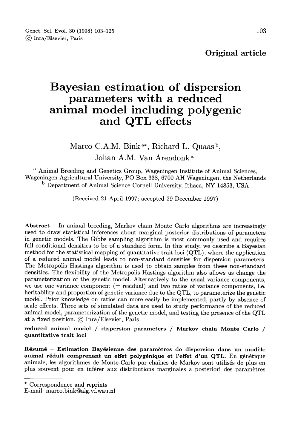 Bayesian estimation of dispersion parameters with a reduced animal