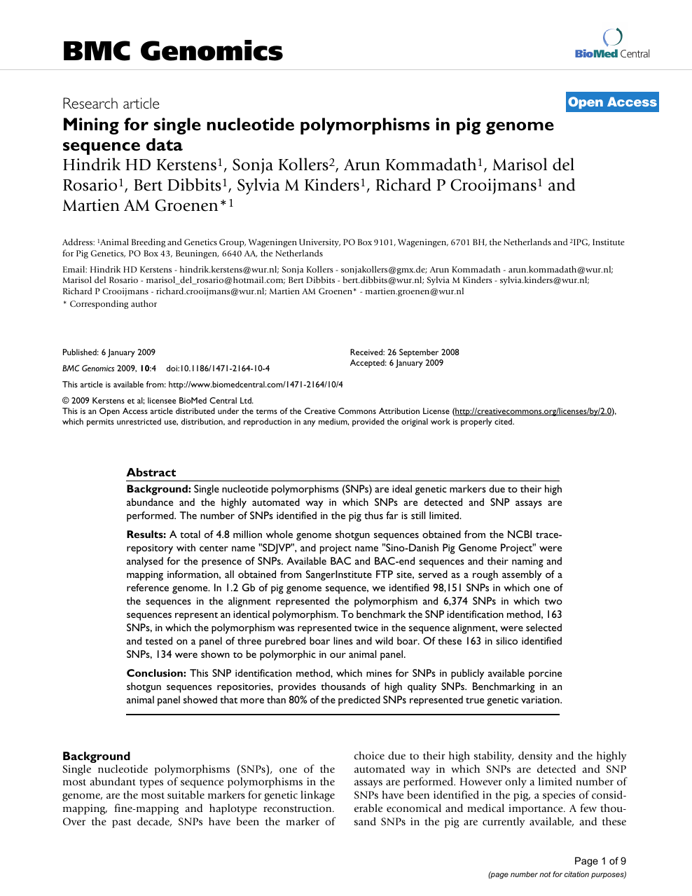 Mining for single nucleotide polymorphisms in pig genome