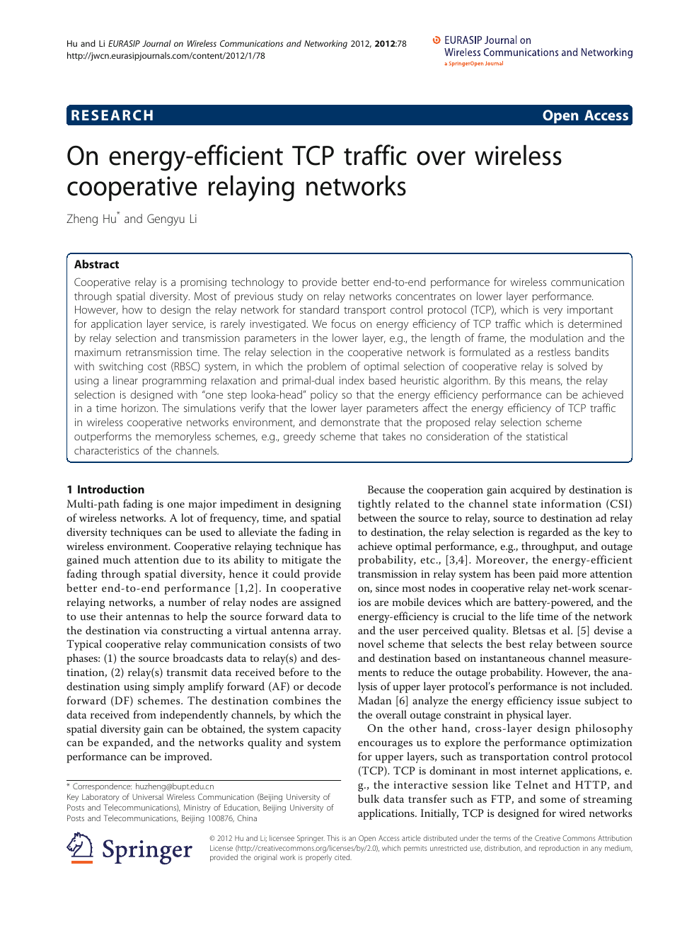 On energy-efficient TCP traffic over wireless cooperative