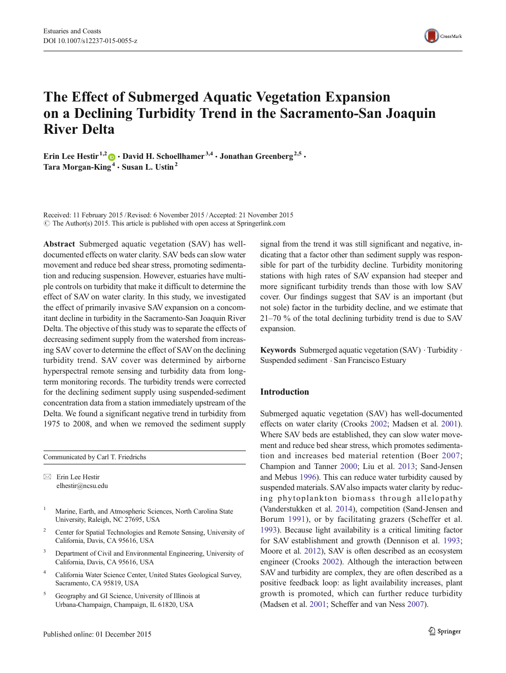 The Effect of Submerged Aquatic Vegetation Expansion on a