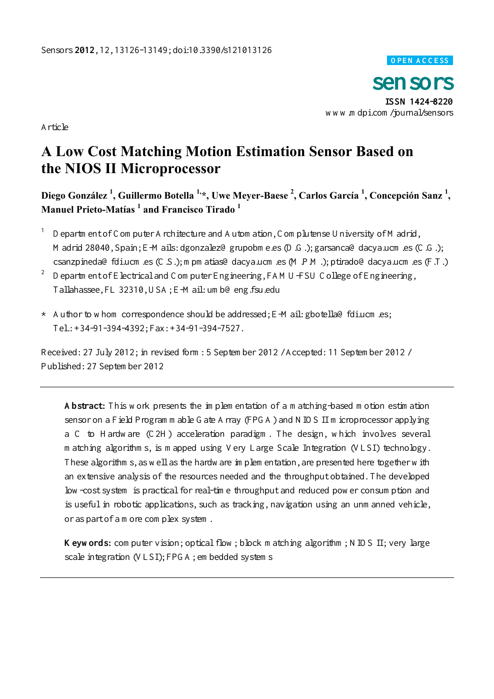 A Low Cost Matching Motion Estimation Sensor Based on the