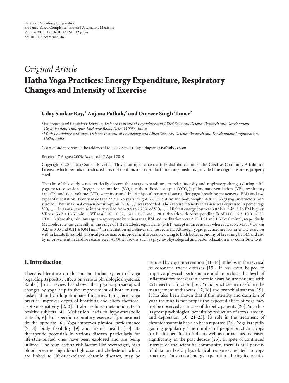 Hatha Yoga Practices Energy Expenditure Respiratory Changes And Intensity Of Exercise Topic Of Research Paper In Medical Engineering Download Scholarly Article Pdf And Read For Free On Cyberleninka Open Science Hub