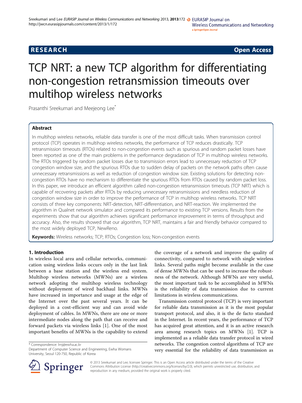 TCP NRT: a new TCP algorithm for differentiating non