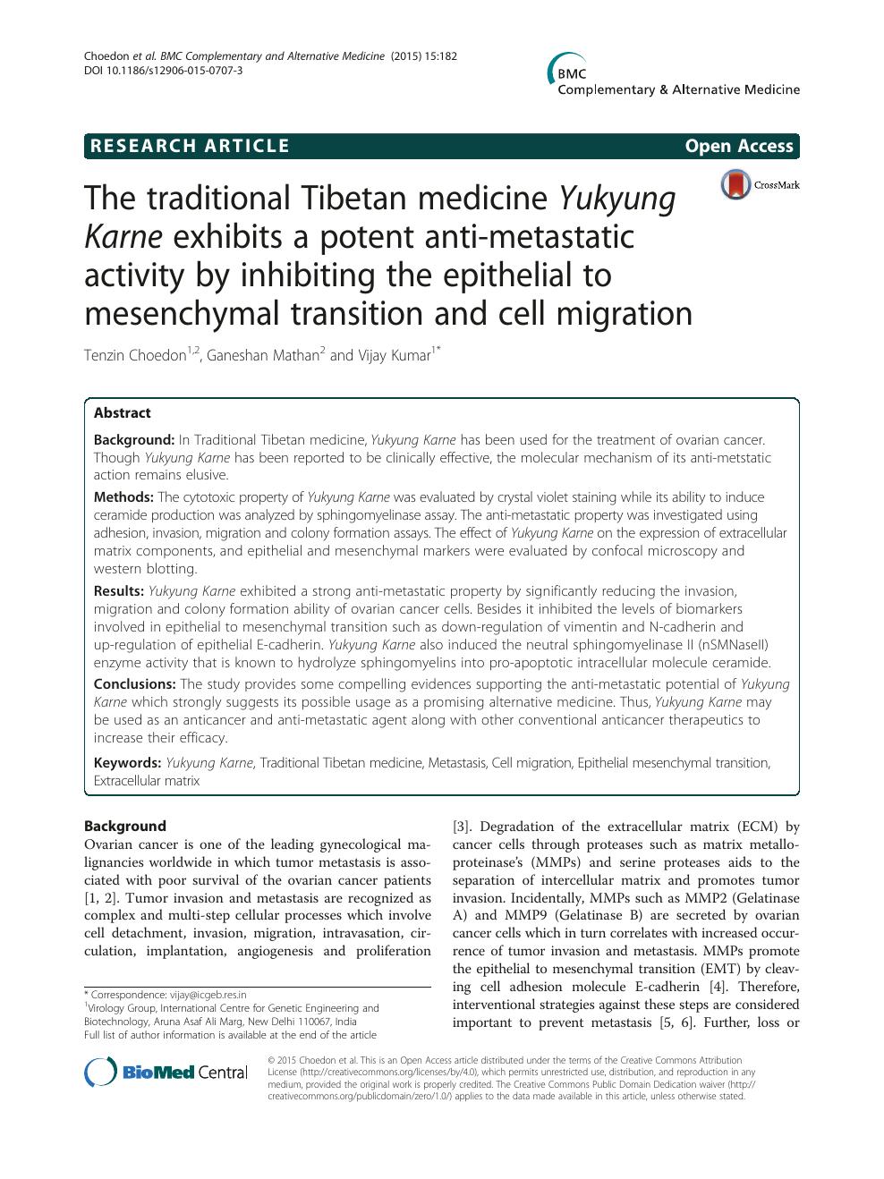 The traditional Tibetan medicine Yukyung Karne exhibits a