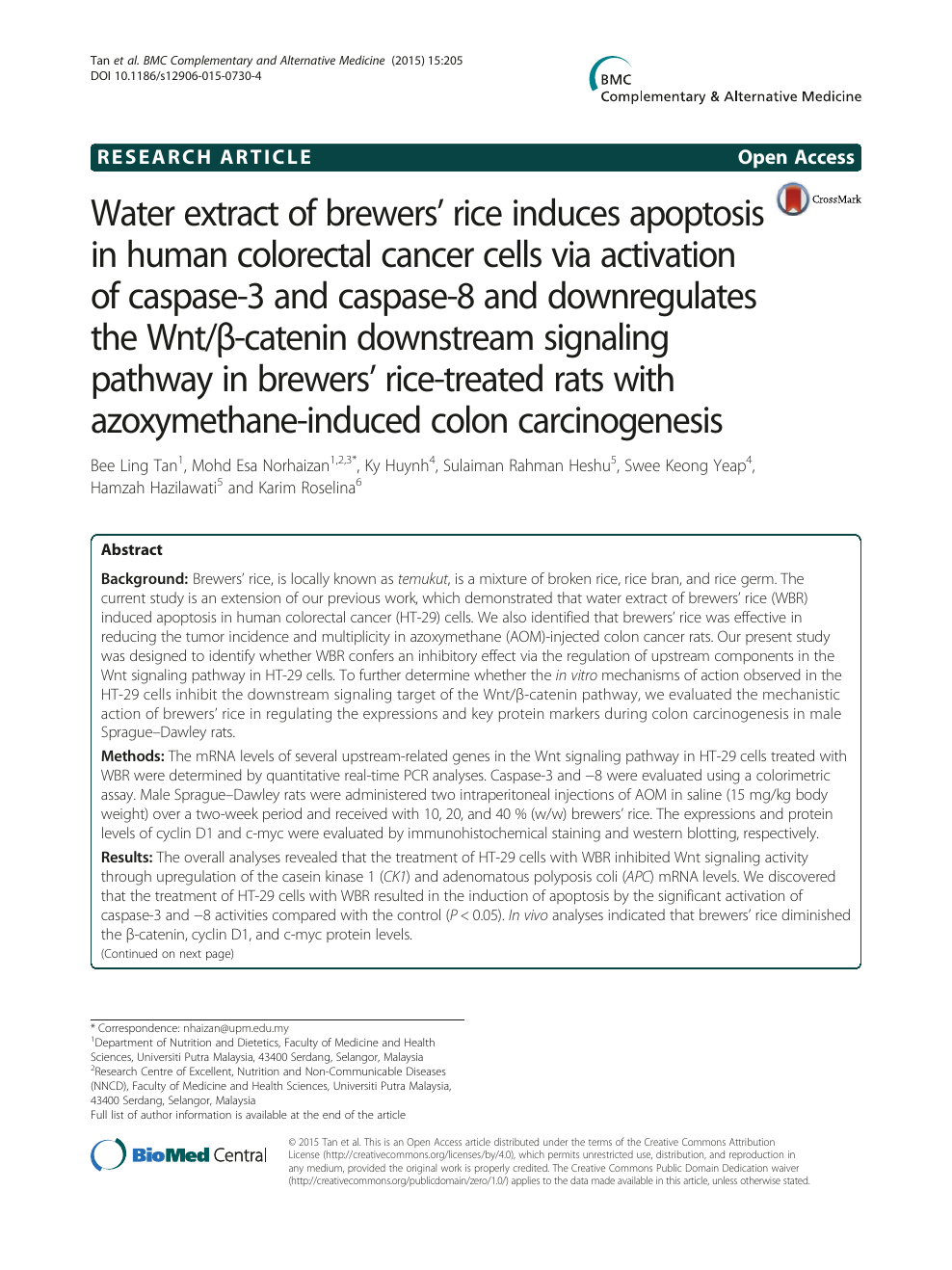 Water Extract Of Brewers Rice Induces Apoptosis In Human Colorectal Cancer Cells Via Activation Of Caspase 3 And Caspase 8 And Downregulates The Wnt B Catenin Downstream Signaling Pathway In Brewers Rice Treated Rats With Azoxymethane Induced Colon